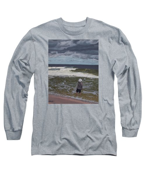 Fishing The Surf In Lavallette, New Jersey Long Sleeve T-Shirt by Barbara Barber