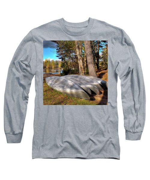 Long Sleeve T-Shirt featuring the photograph Five Canoes At Woodcraft Camp by David Patterson