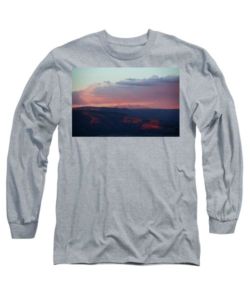 Long Sleeve T-Shirt featuring the photograph Flagstaff's San Francisco Peaks Snowy Sunset by Ron Chilston