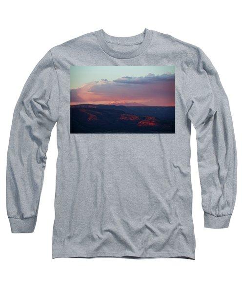 Flagstaff's San Francisco Peaks Snowy Sunset Long Sleeve T-Shirt