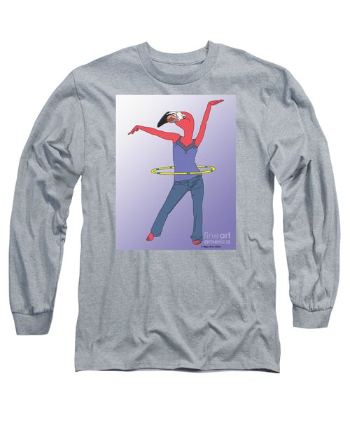 Long Sleeve T-Shirt featuring the digital art Flamingo Hoop by Megan Dirsa-DuBois