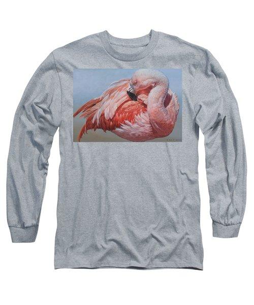 Flamingo Preening Long Sleeve T-Shirt