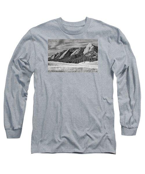 Flatiron Morning Light Boulder Colorado Bw Long Sleeve T-Shirt