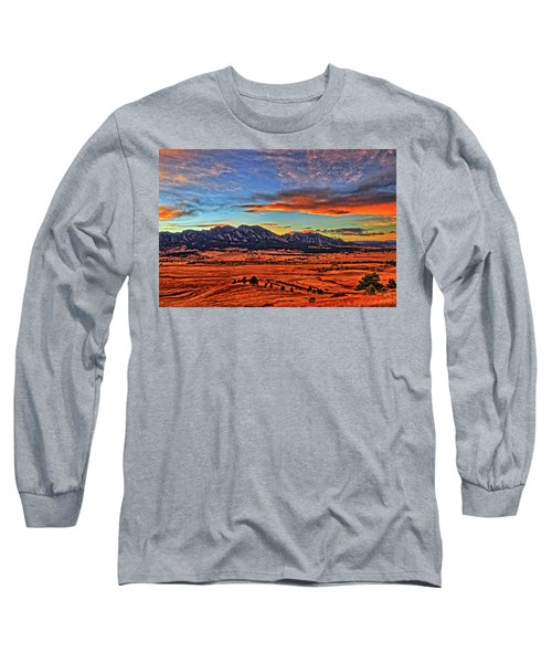 Long Sleeve T-Shirt featuring the photograph Flatiron Sunset Fire Red by Scott Mahon