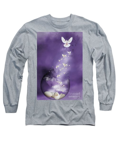 Long Sleeve T-Shirt featuring the mixed media Flight To Freedom by Jim  Hatch