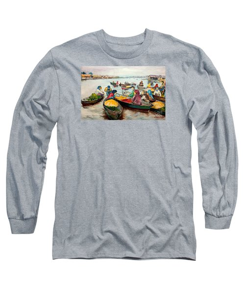 Long Sleeve T-Shirt featuring the painting Floating Market by Jason Sentuf