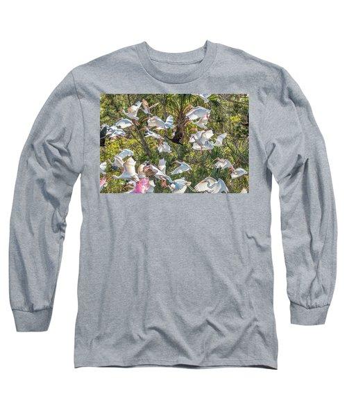 Flock Of Mixed Birds Taking Off Long Sleeve T-Shirt