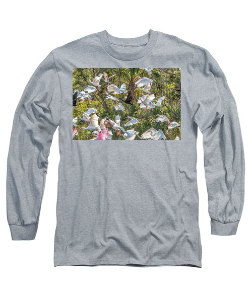 Flock Of Mixed Birds Taking Off Long Sleeve T-Shirt