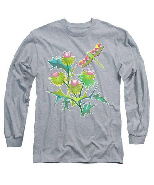 Floral Pattern With Thistle Long Sleeve T-Shirt