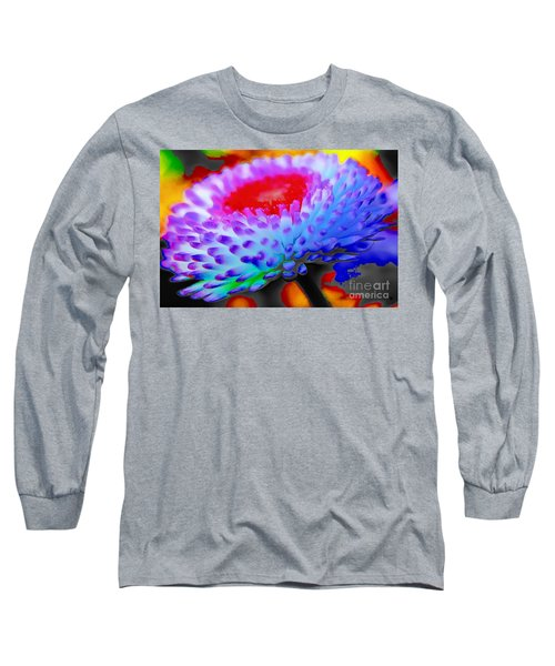 Floral Rainbow Splattered In Thick Paint Long Sleeve T-Shirt