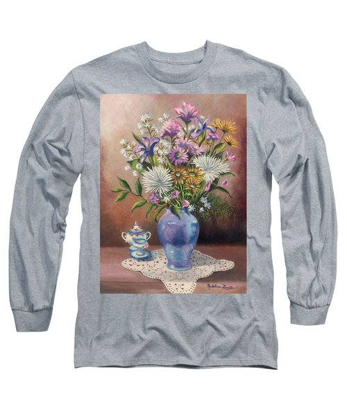 Floral With Blue Vase With Capadamonte Long Sleeve T-Shirt