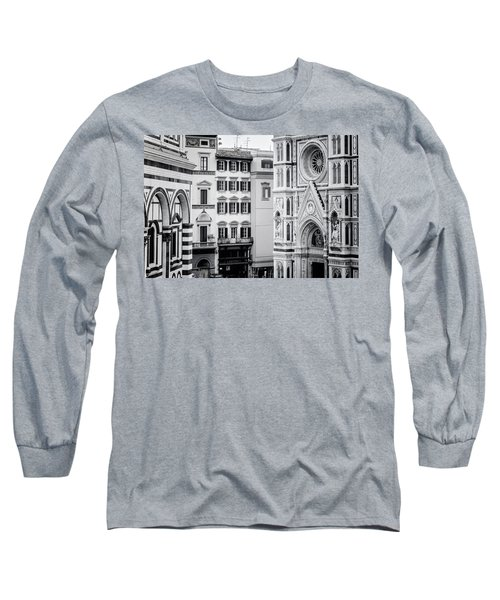 Long Sleeve T-Shirt featuring the photograph Florence Italy View Bw by Joan Carroll