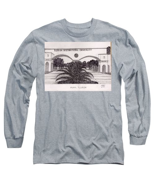 Long Sleeve T-Shirt featuring the drawing Florida International University by Frederic Kohli