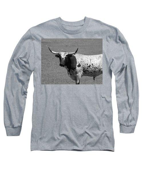 Florida Longhorn Black And White Photo Long Sleeve T-Shirt by Warren Thompson