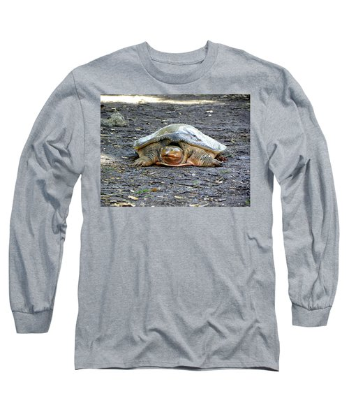 Long Sleeve T-Shirt featuring the photograph Florida Softshell Turtle 002 by Chris Mercer