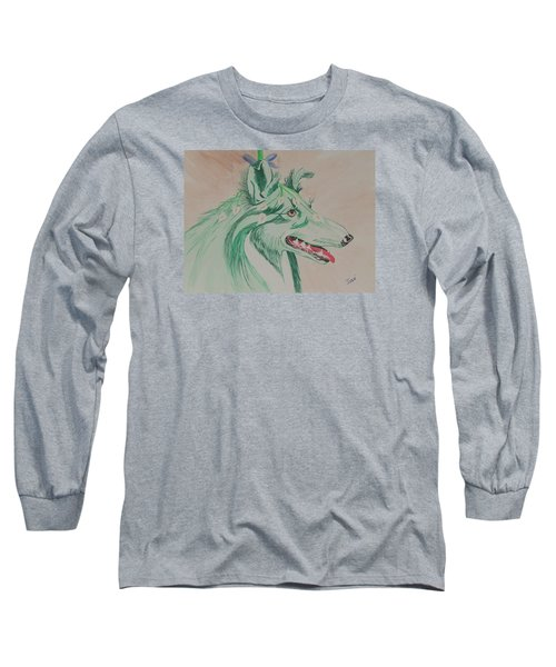 Long Sleeve T-Shirt featuring the painting Flower Dog # 11 by Hilda and Jose Garrancho