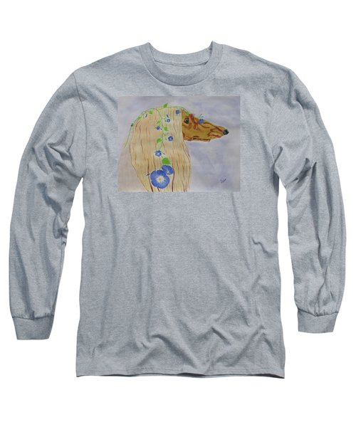 Long Sleeve T-Shirt featuring the painting Flower Dog 10 by Hilda and Jose Garrancho