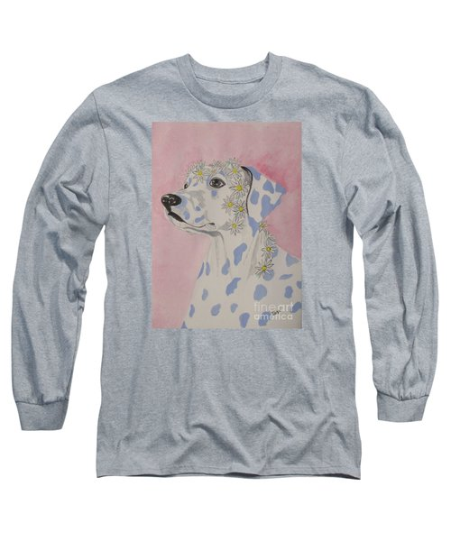 Long Sleeve T-Shirt featuring the painting Flower Dog 2 by Hilda and Jose Garrancho