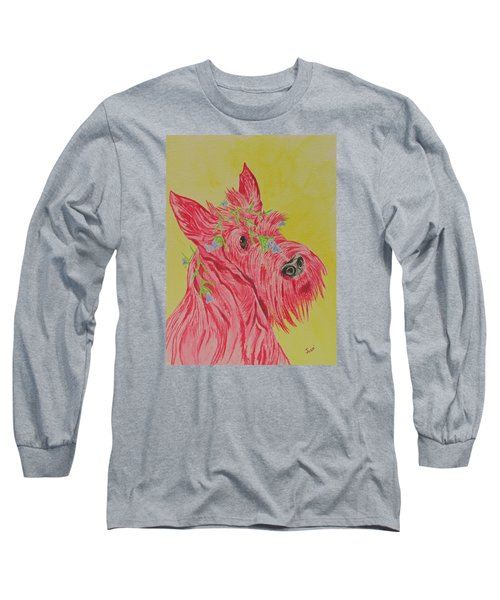 Long Sleeve T-Shirt featuring the painting Flower Dog 6 by Hilda and Jose Garrancho