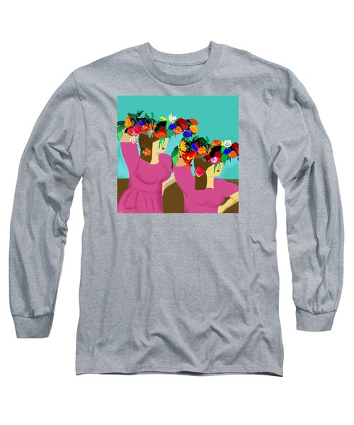 Long Sleeve T-Shirt featuring the photograph Flower Girls In The Market by Haleh Mahbod