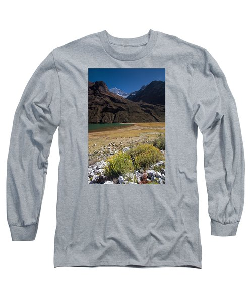 Flowers And Mountain Lake In Santa Cruz Valley Long Sleeve T-Shirt by Aivar Mikko