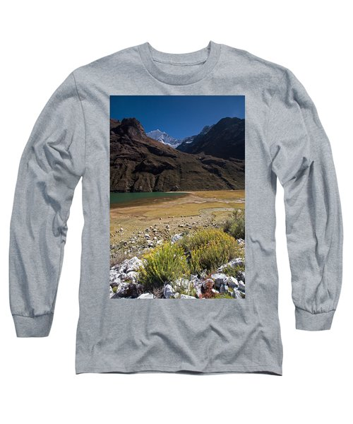 Flowers And Mountain Lake In Santa Cruz Valley Long Sleeve T-Shirt