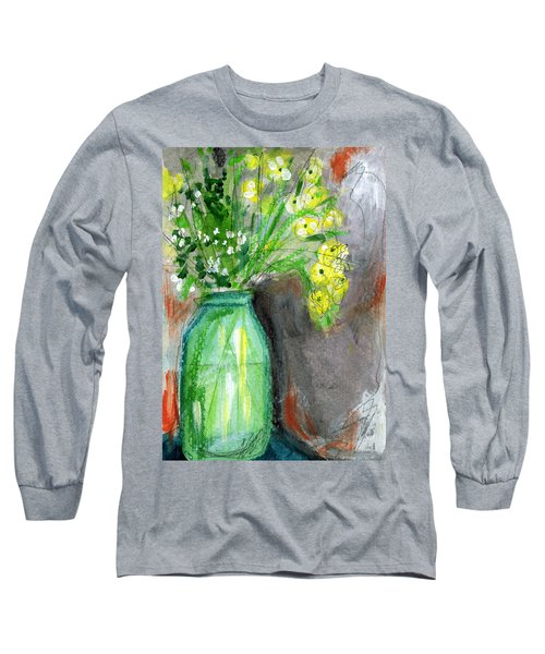 Flowers In A Green Jar- Art By Linda Woods Long Sleeve T-Shirt
