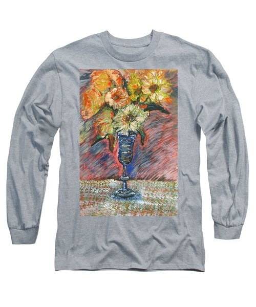 Flowers In Wine Glass Long Sleeve T-Shirt