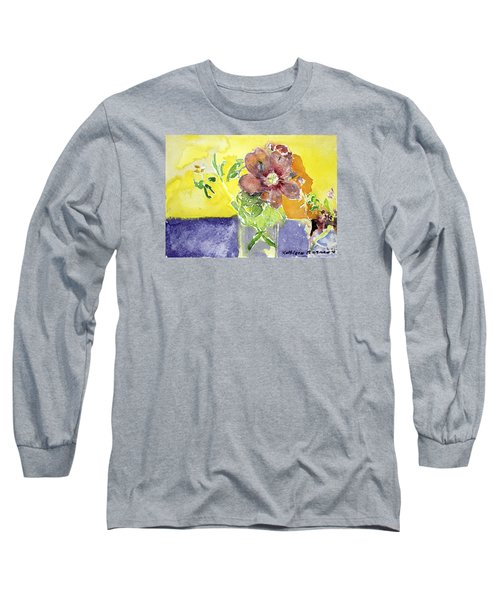 Flowers On A Blue Table Long Sleeve T-Shirt