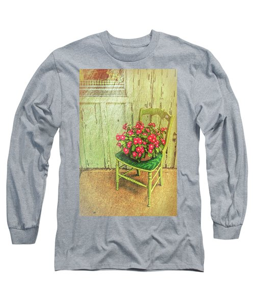 Long Sleeve T-Shirt featuring the photograph Flowers On Green Chair by Lewis Mann
