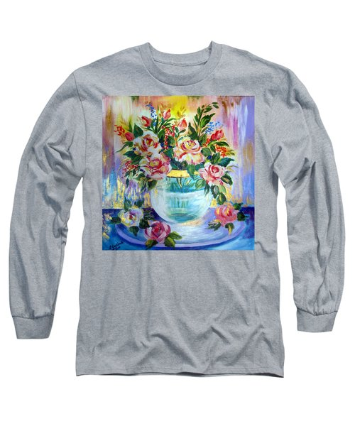 Long Sleeve T-Shirt featuring the painting Flowers Still Life  by Roberto Gagliardi