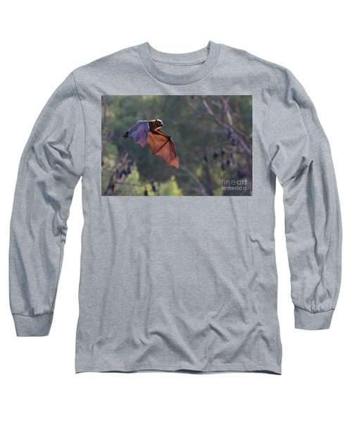 Flying Fox In Mid Air Long Sleeve T-Shirt by Craig Dingle