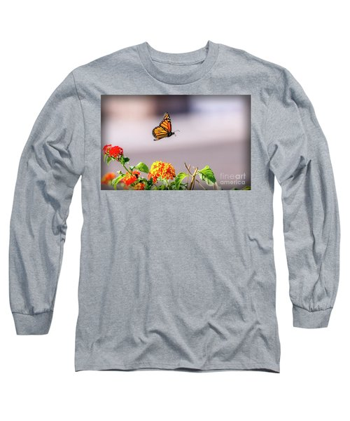 Long Sleeve T-Shirt featuring the photograph Flying Monarch Butterfly by Robert Bales