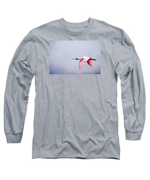 Flying Pretty - Roseate Spoonbill Long Sleeve T-Shirt by Debra Martz