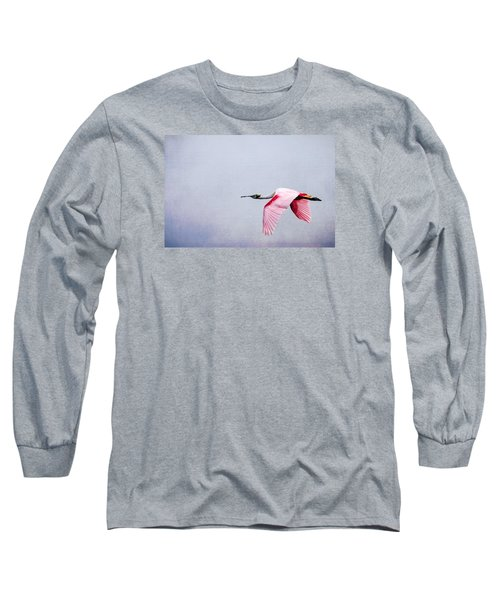 Flying Pretty - Roseate Spoonbill Long Sleeve T-Shirt