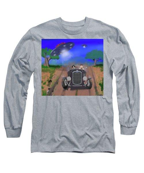 Flying Saucers Attack Teenage Hot Rodders Long Sleeve T-Shirt by Ken Morris