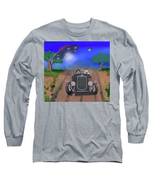 Flying Saucers Attack Teenage Hot Rodders Long Sleeve T-Shirt