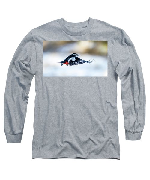 Long Sleeve T-Shirt featuring the photograph Flying Woodpecker by Torbjorn Swenelius
