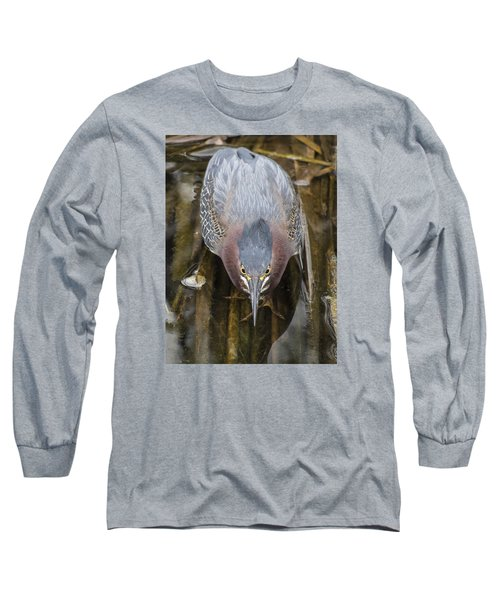 Focused Green Heron Long Sleeve T-Shirt