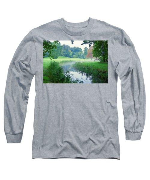 Fog Along A Creek In Autumn Long Sleeve T-Shirt