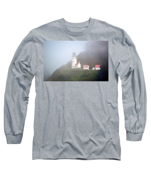 Long Sleeve T-Shirt featuring the photograph Foggy Day At The Heceta Head Lighthouse by AJ Schibig