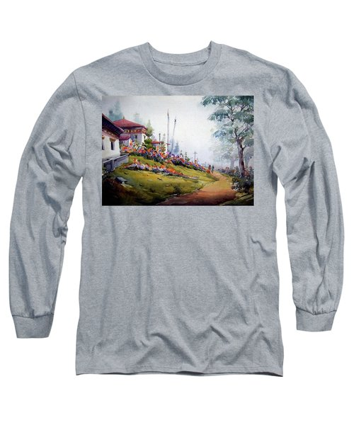 Long Sleeve T-Shirt featuring the painting Foggy Mountain Village by Samiran Sarkar