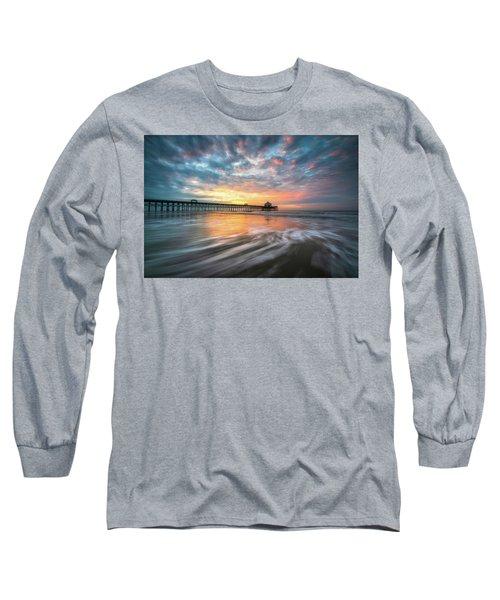 Folly Beach Sc Ocean Seascape Charleston South Carolina Scenic Landscape Long Sleeve T-Shirt