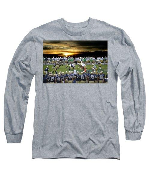Football Field-notre Dame-navy Long Sleeve T-Shirt