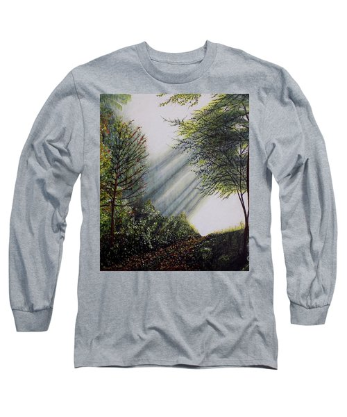 Long Sleeve T-Shirt featuring the painting Forest Pathway by Judy Kirouac