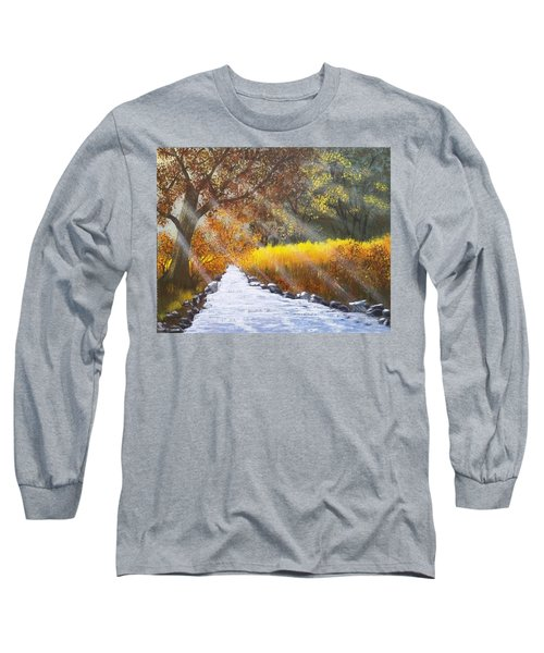 Forest Sunrays Over Water Long Sleeve T-Shirt