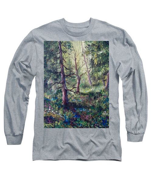 Forest Wildflowers Long Sleeve T-Shirt by Megan Walsh