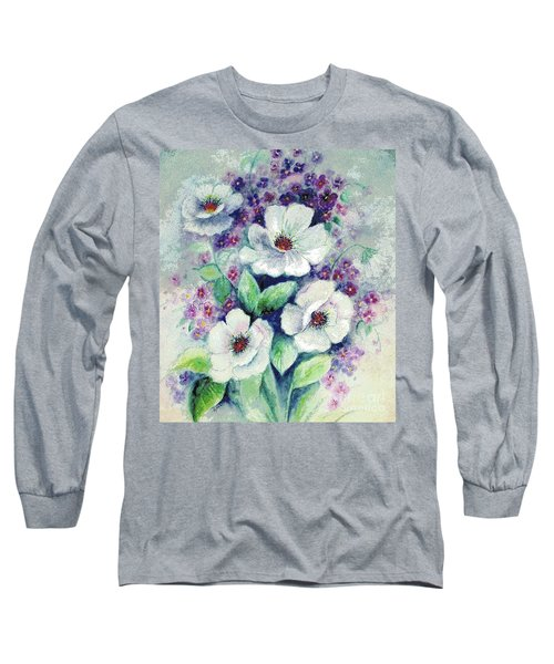 Long Sleeve T-Shirt featuring the painting Forget-me-knots And Roses by Hazel Holland