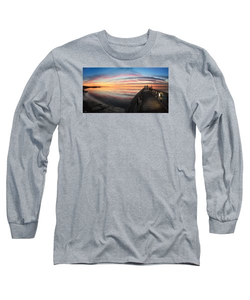Fort Fisher Sunset Reverie With Heron Long Sleeve T-Shirt by Phil Mancuso