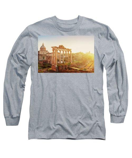 Forum - Roman Ruins In Rome At Sunrise Long Sleeve T-Shirt by Anastasy Yarmolovich